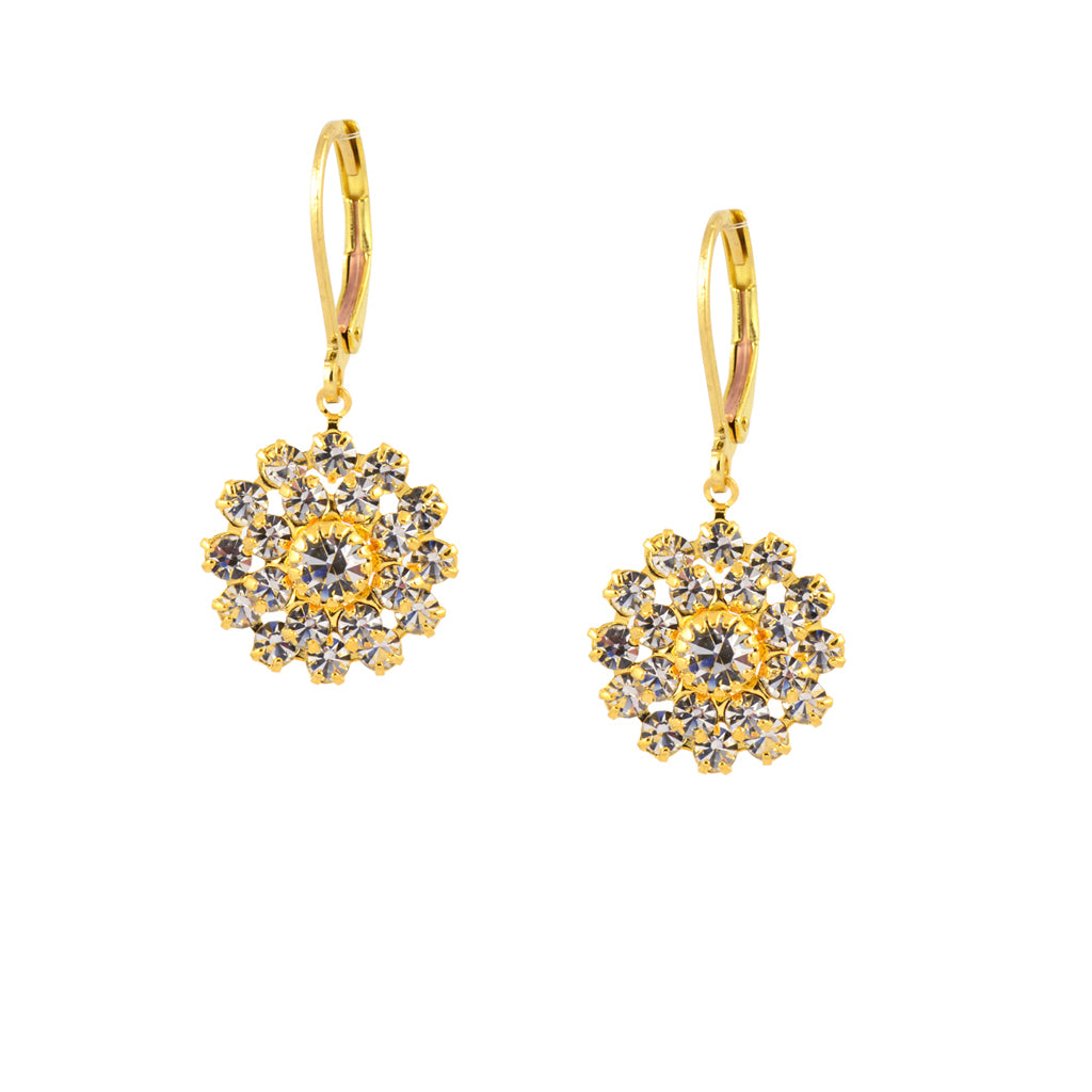 Caroline Heath Filigree Flower Earrings, Gold Plated Leverback Drop with Clear Crystal