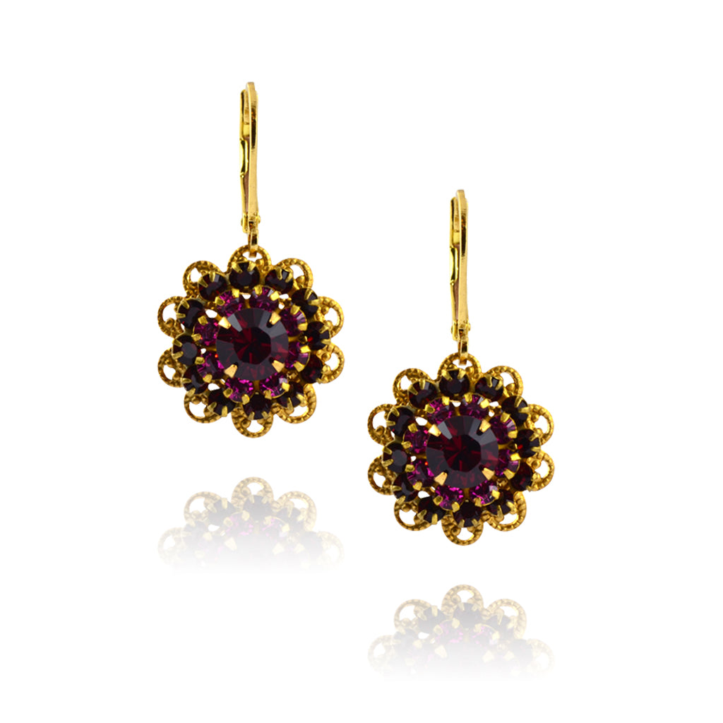 Caroline Heath Filigree Flower Earrings, Gold Plated Leverback Drop with Red Crystal
