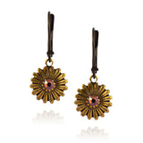 Caroline Heath Flower Earrings, Antique Brass Leverback Drop with Fawn Crystal