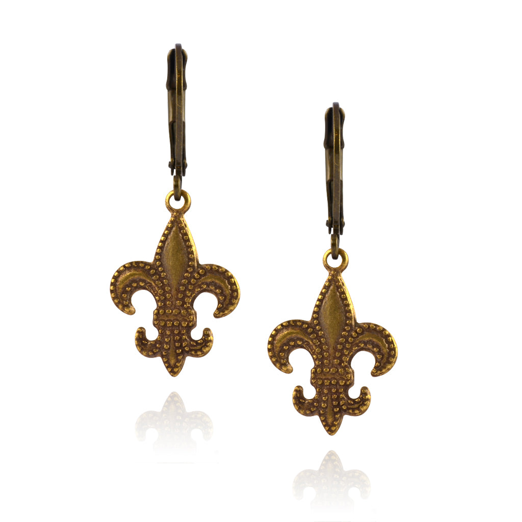 Caroline Heath Filigree Fleur de Lis Earrings, Antique Brass Leverback Drop