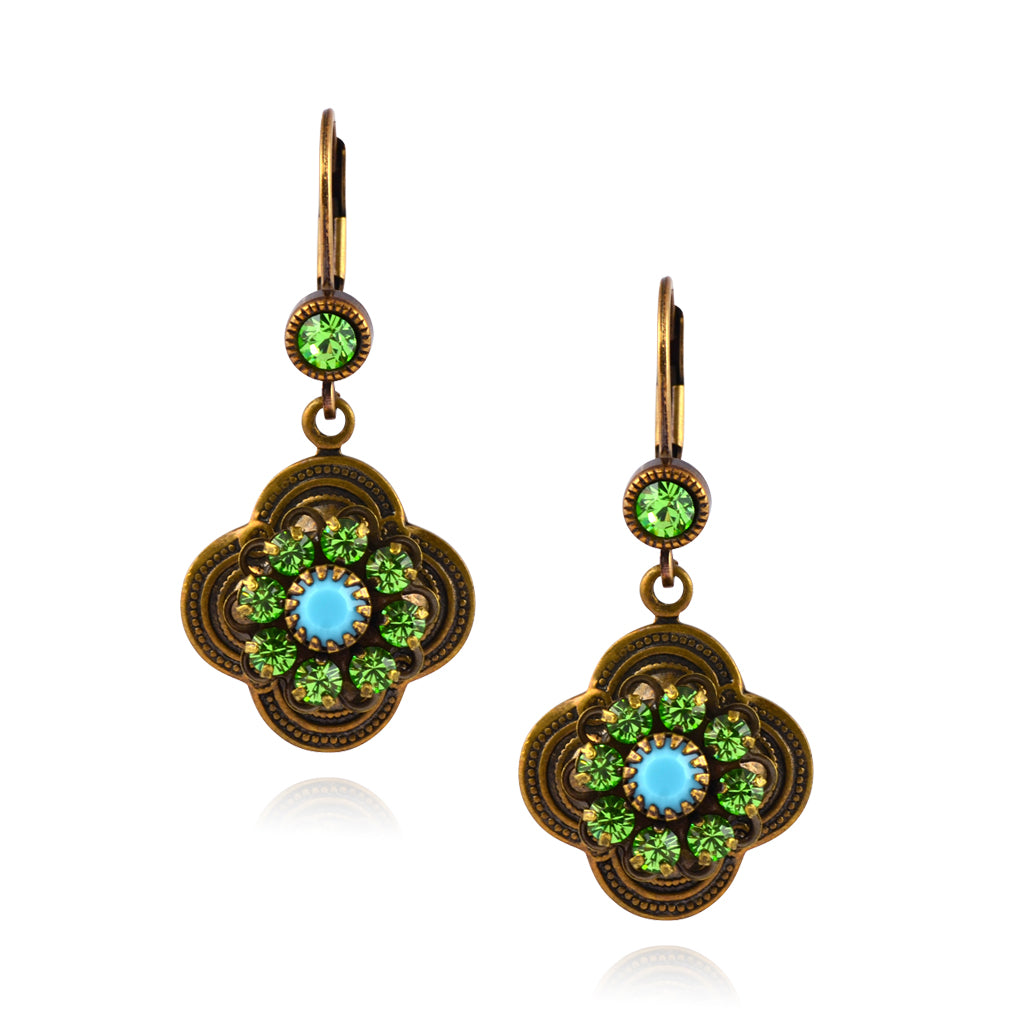 Caroline Heath Ornate Clover Earrings, Antique Brass Leverback Drop with Green/Teal Crystal