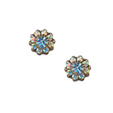 Caroline Heath Crystal Flower Stud Earrings, Antique Brass Posts in AB and Aqua