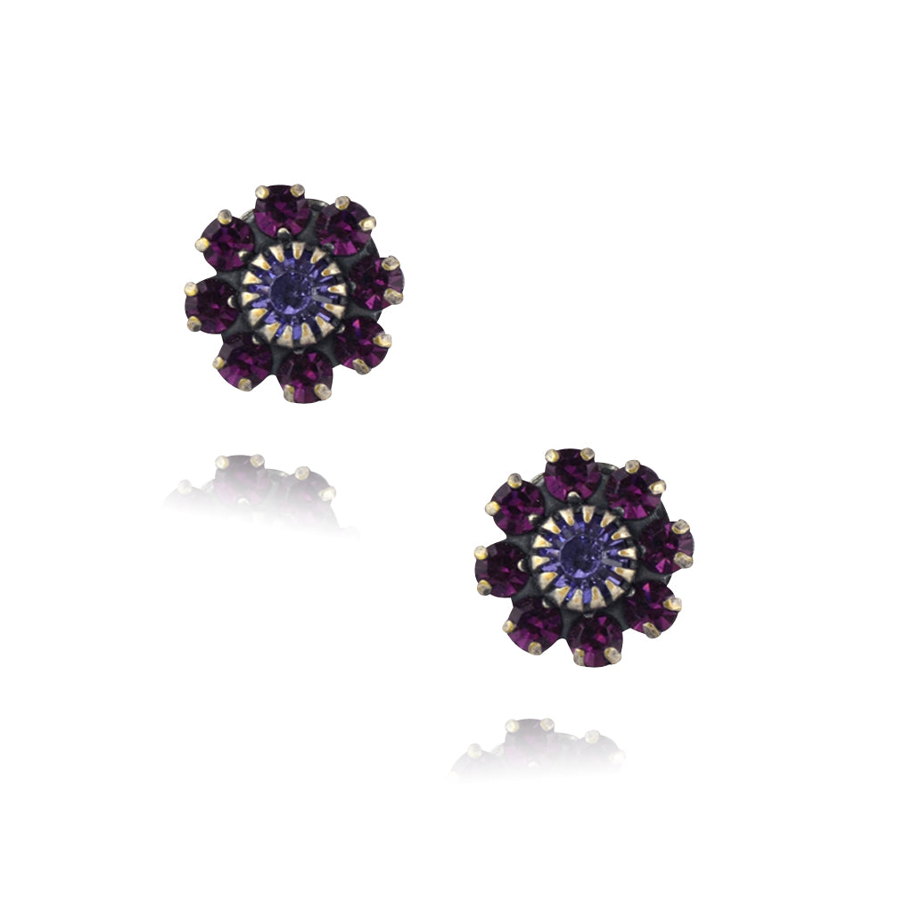 Caroline Heath Crystal Flower Stud Earrings, Antique Silver Plated Posts in Purple
