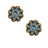 Caroline Heath Crystal Flower Stud Earrings, Antique Silver Plated Posts in Aqua
