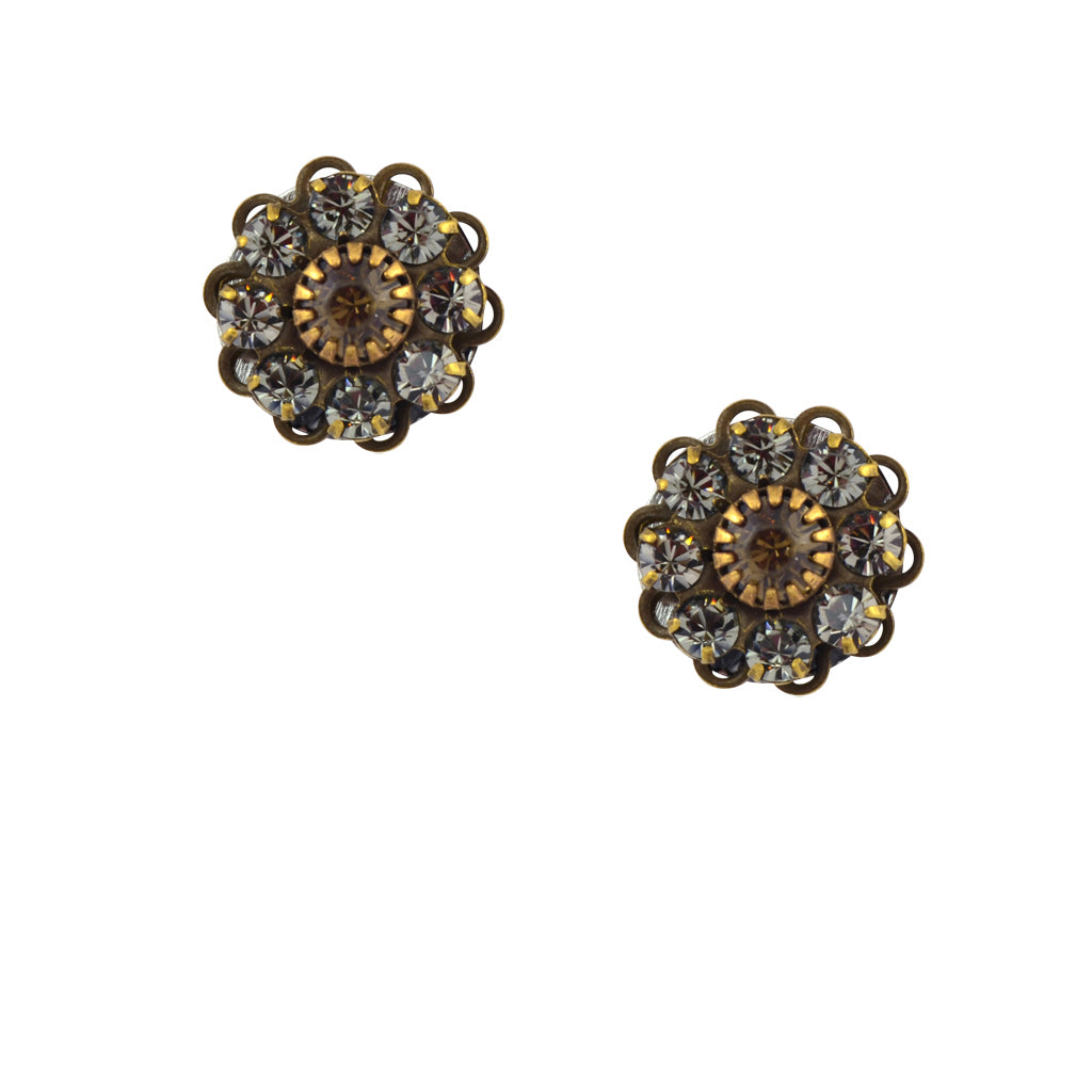 Caroline Heath Crystal Flower Stud Earrings, Antique Brass Posts in Gray and Fawn