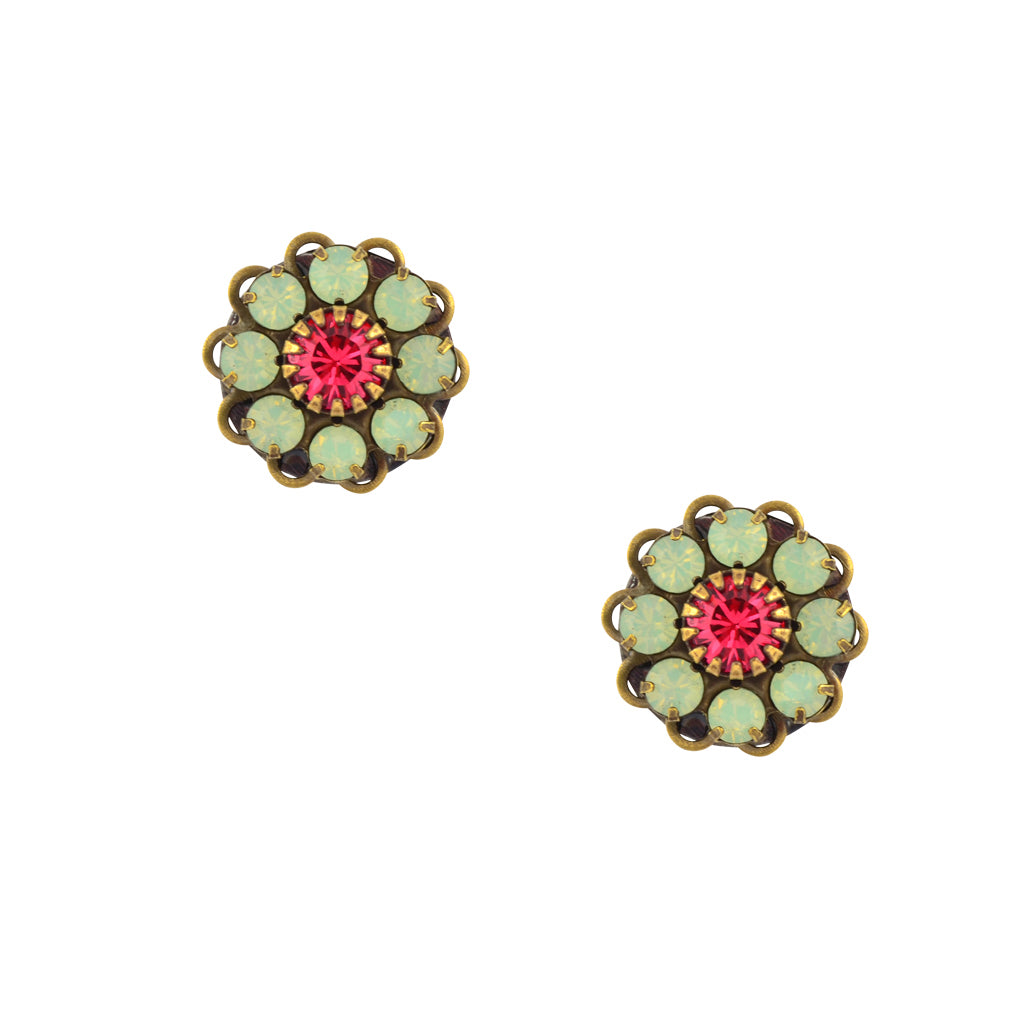 Caroline Heath Crystal Flower Stud Earrings, Antique Brass Posts in Green and Pink