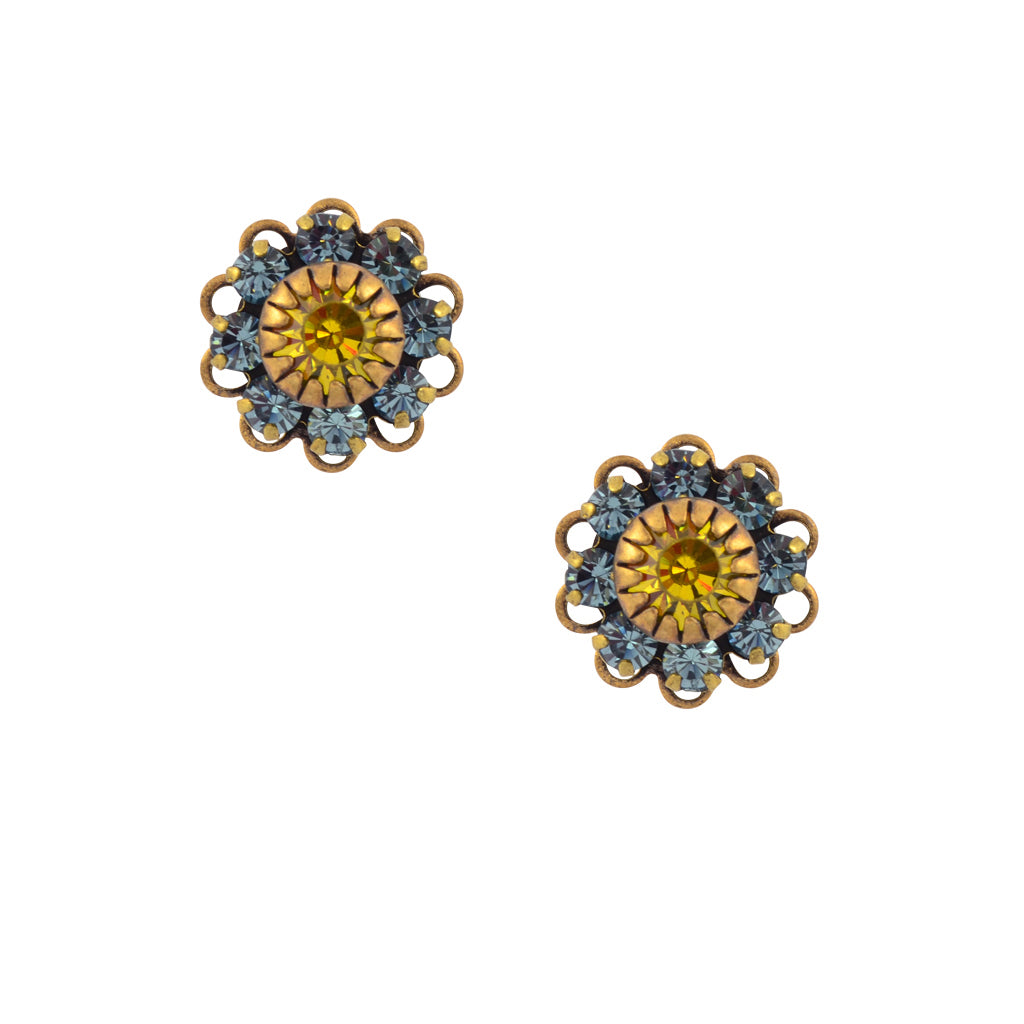 Caroline Heath Crystal Flower Stud Earrings, Antique Brass Posts in Blue and Yellow