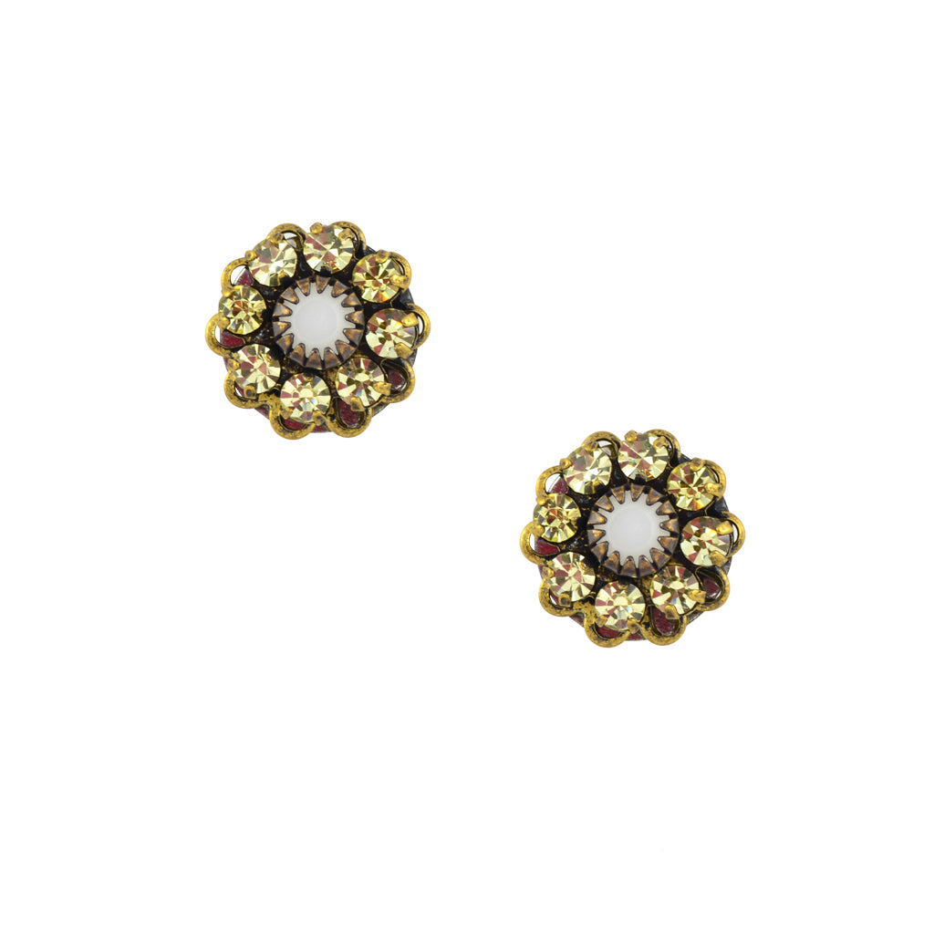 Caroline Heath Crystal Flower Stud Earrings, Antique Brass Posts in Yellow and White