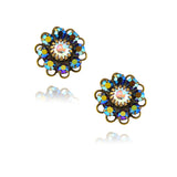 Caroline Heath Crystal Flower Stud Earrings, Antique Brass Posts in Blue/AB