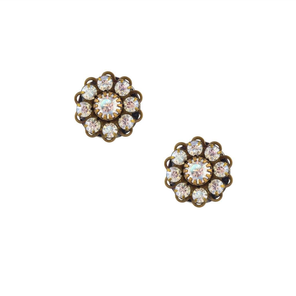 Caroline Heath Crystal Flower Stud Earrings, Antique Brass Posts in Moonlight