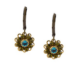 Caroline Heath Crystal Flower Drop Earrings, Antique Brass in Green and Blue