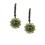 Caroline Heath Crystal Flower Drop Earrings, Antique Brass in Green and Black