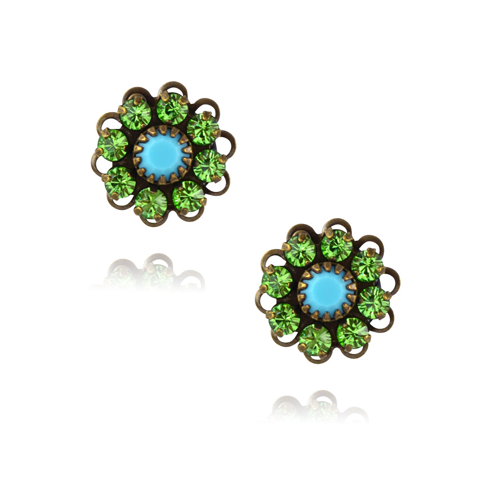 Caroline Heath Crystal Flower Stud Earrings, Antique Brass Posts in Green/Teal