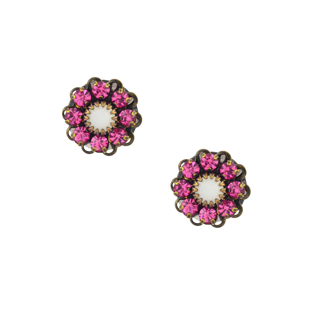 Caroline Heath Crystal Flower Stud Earrings, Antique Brass Posts in Pink and White