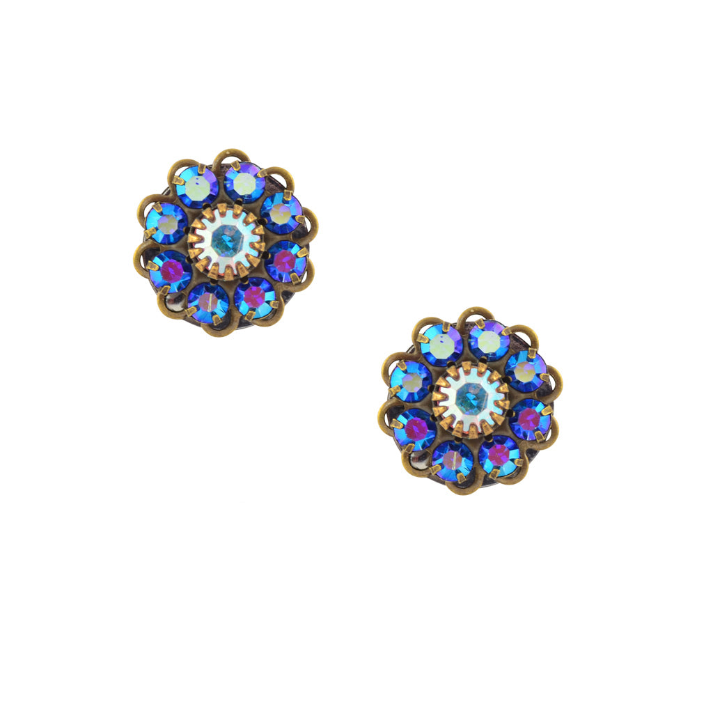 Caroline Heath Crystal Flower Stud Earrings, Antique Brass Posts in AB