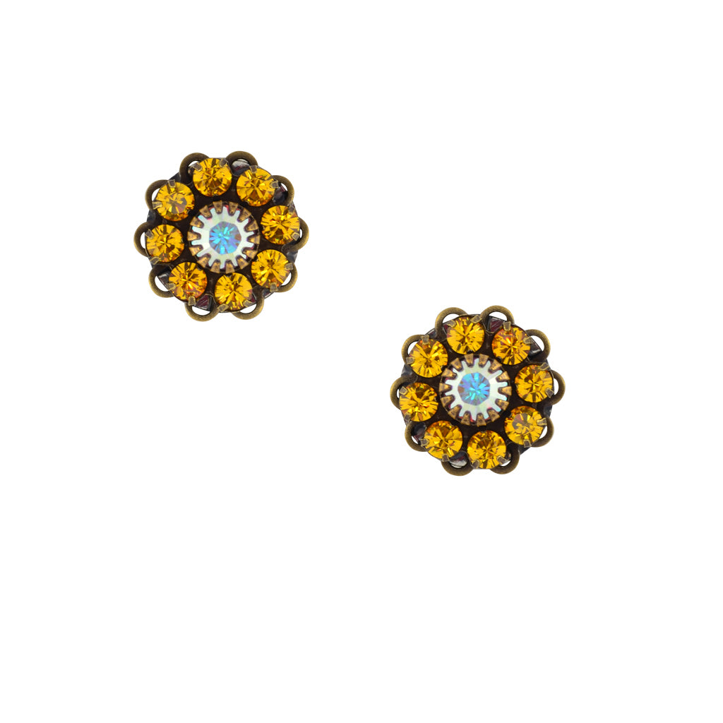 Caroline Heath Crystal Flower Stud Earrings, Antique Brass Posts in Yellow and AB