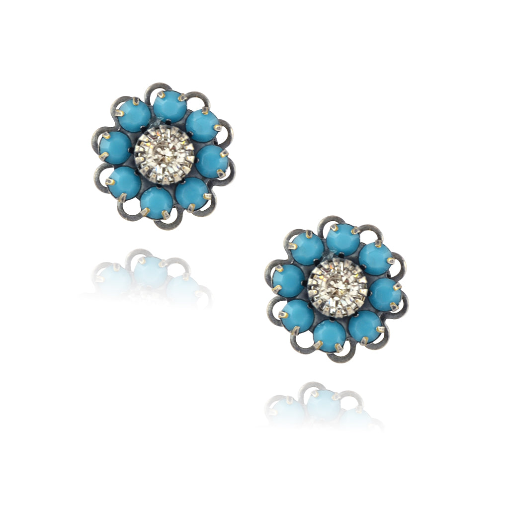 Caroline Heath Crystal Flower Stud Earrings, Antique Silver Plated Posts in Teal/Clear