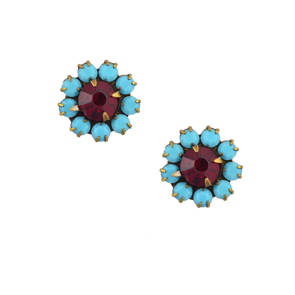 Caroline Heath Crystal Flower Stud Earrings, Antique Brass Posts in Teal and Red