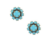 Caroline Heath Crystal Flower Stud Earrings, Antique Brass Posts in Teal