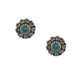 Caroline Heath Crystal Flower Stud Earrings, Antique Brass Posts in Blue and Teal