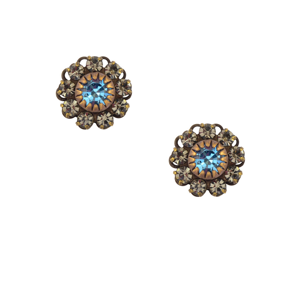 Caroline Heath Crystal Flower Stud Earrings, Antique Brass Posts in Gray and Aqua