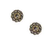 Caroline Heath Crystal Flower Stud Earrings, Antique Brass Posts in Gray