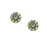 Caroline Heath Crystal Flower Stud Earrings, Antique Brass Posts in Green and Blue