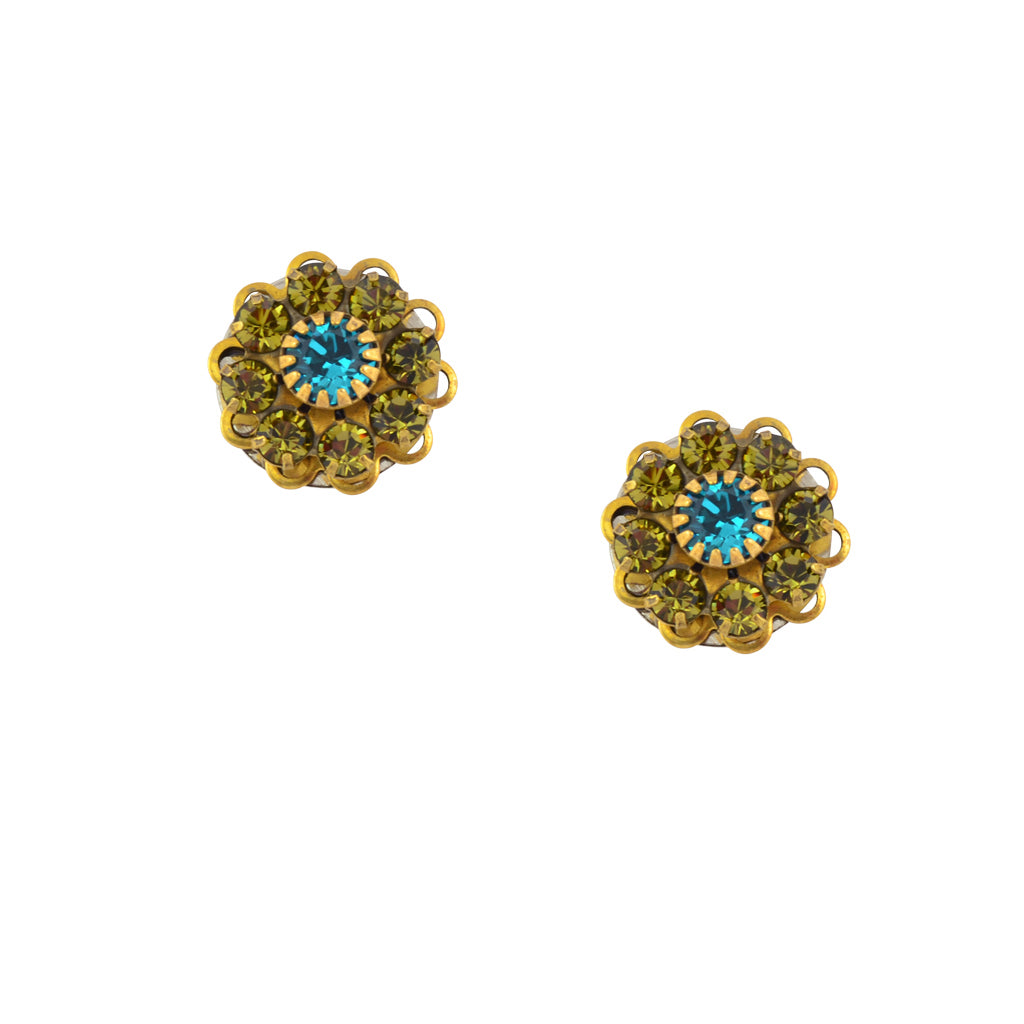 Caroline Heath Crystal Flower Stud Earrings, Gold Plated Posts in Green and Blue