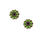 Caroline Heath Crystal Flower Stud Earrings, Antique Brass Posts in Green and Black