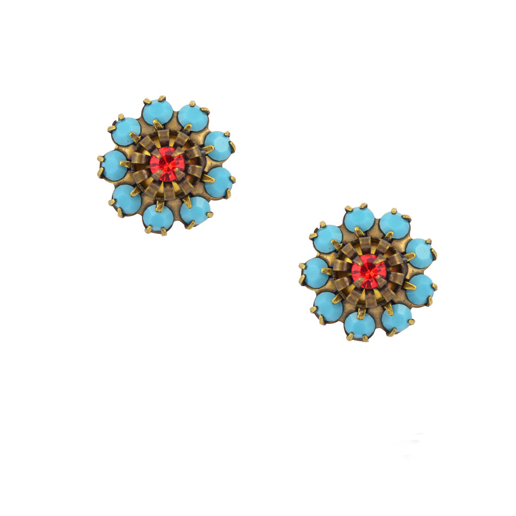 Caroline Heath Crystal Flower Stud Earrings, Antique Brass Posts in Teal and Pink