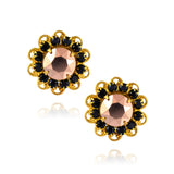 Caroline Heath Filigree Crystal Flower Stud Earrings, Gold Plated Posts in Black