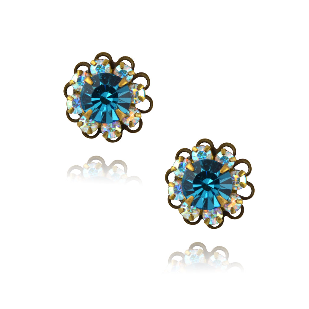Caroline Heath Crystal Flower Stud Earrings, Antique Brass Posts in AB/Aqua
