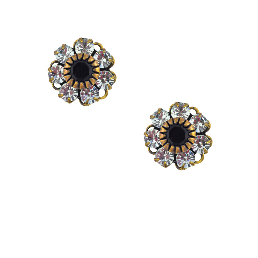 Caroline Heath Crystal Flower Stud Earrings, Antique Brass Posts in Clear and Black