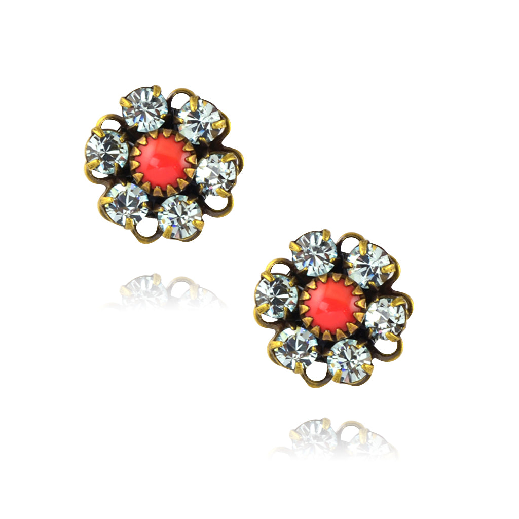 Caroline Heath Crystal Flower Stud Earrings, Antique Brass Posts in Clear/Red