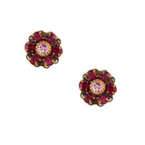 Caroline Heath Crystal Flower Stud Earrings, Antique Brass Posts in Red and Purple