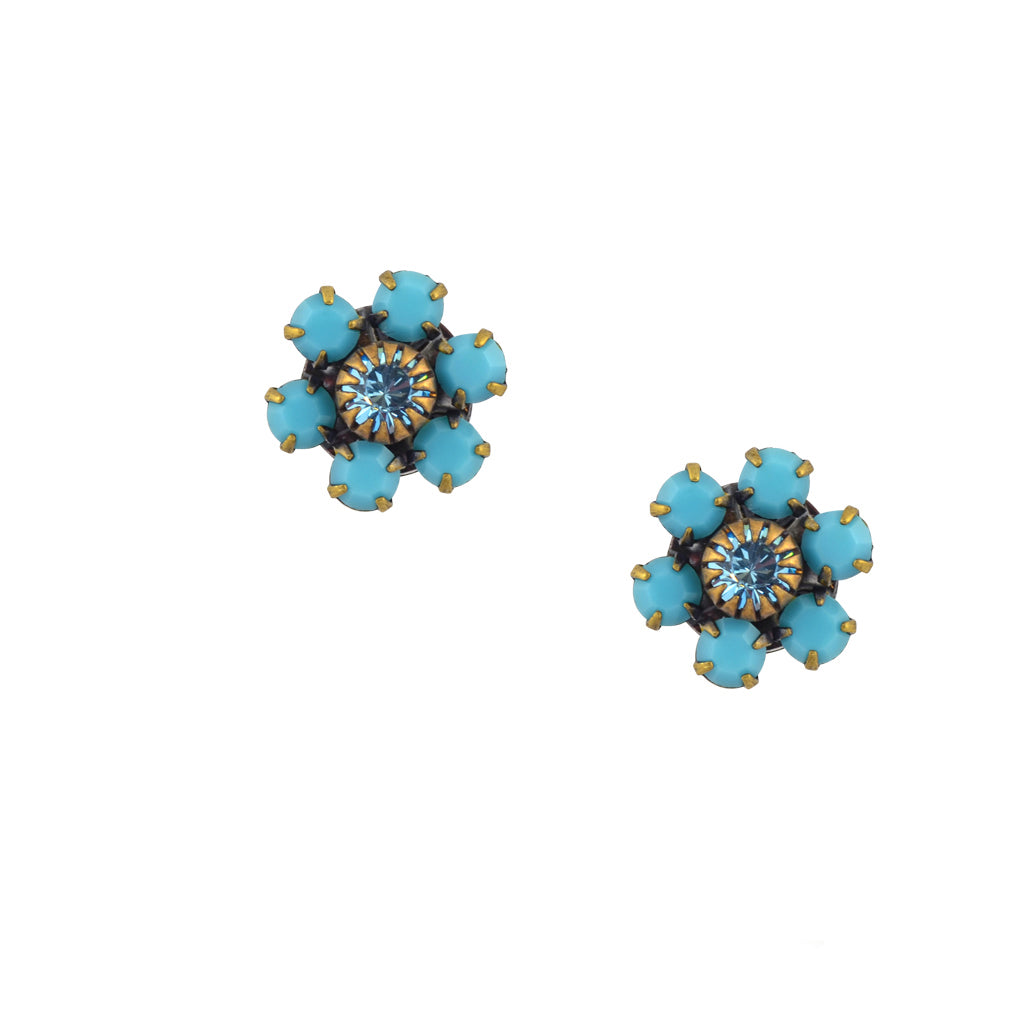 Caroline Heath Crystal Flower Stud Earrings, Antique Brass Posts in Teal and Aqua