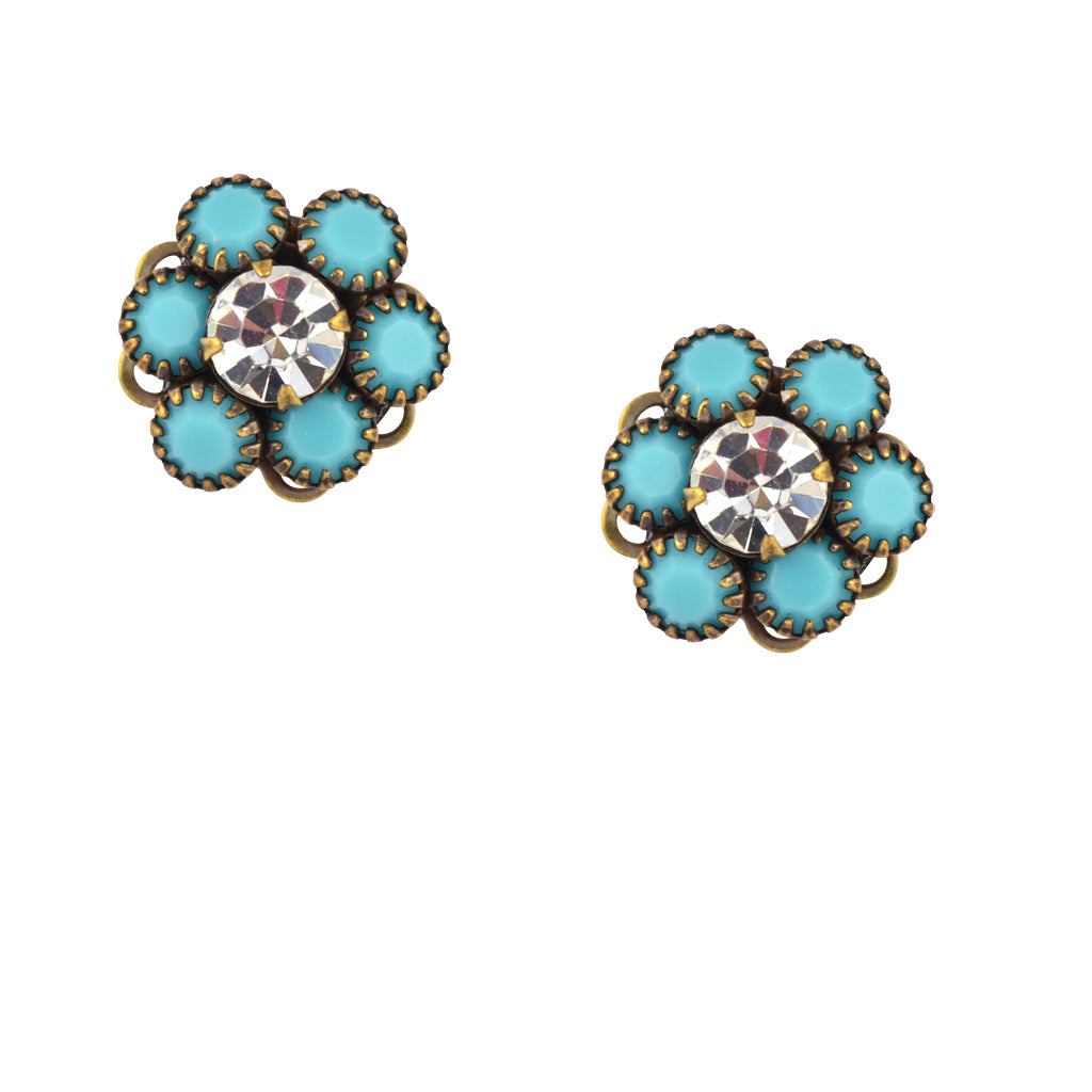 Caroline Heath Crystal Flower Stud Earrings, Antique Silver Plated Posts in Teal and Clear