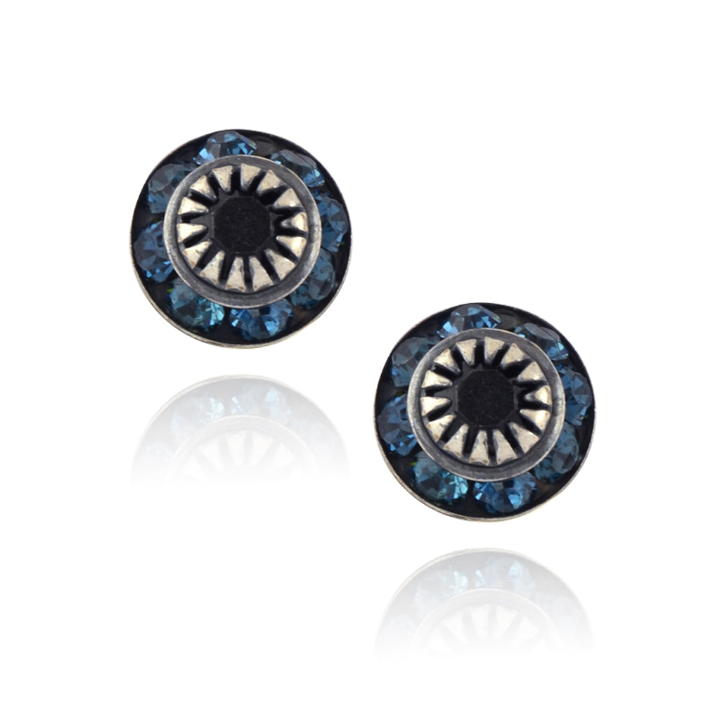 Caroline Heath Small Round Crystal Stud Earrings, Antique Silver Plated Posts in Aqua/Black