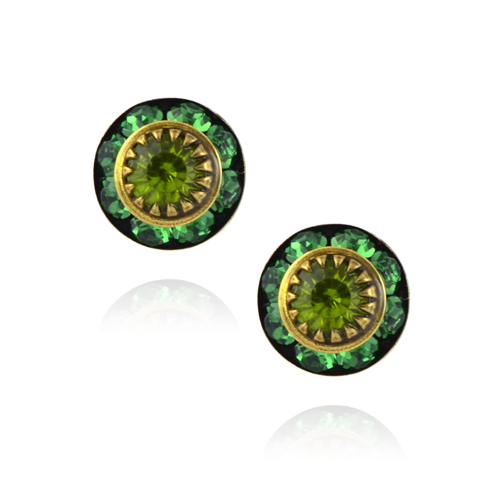 Caroline Heath Small Round Crystal Stud Earrings, Antique Brass Posts in Green