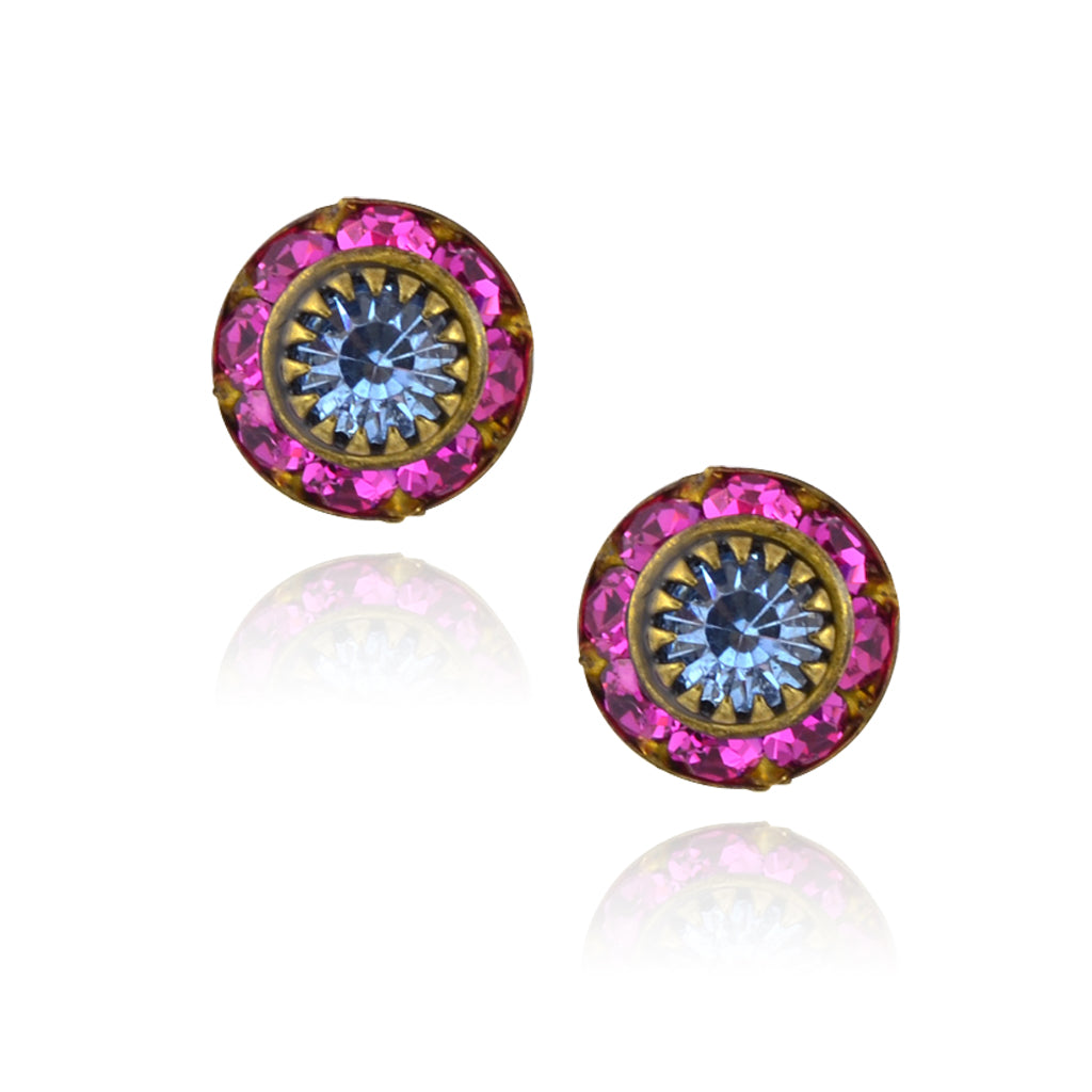 Caroline Heath Small Round Crystal Stud Earrings, Antique Brass Posts in Pink/Blue