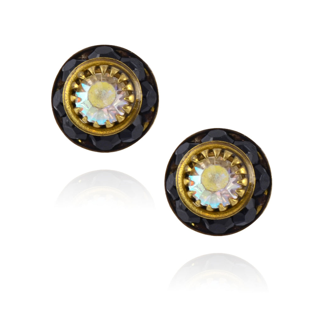 Caroline Heath Small Round Crystal Stud Earrings, Antique Brass Posts in Black/AB