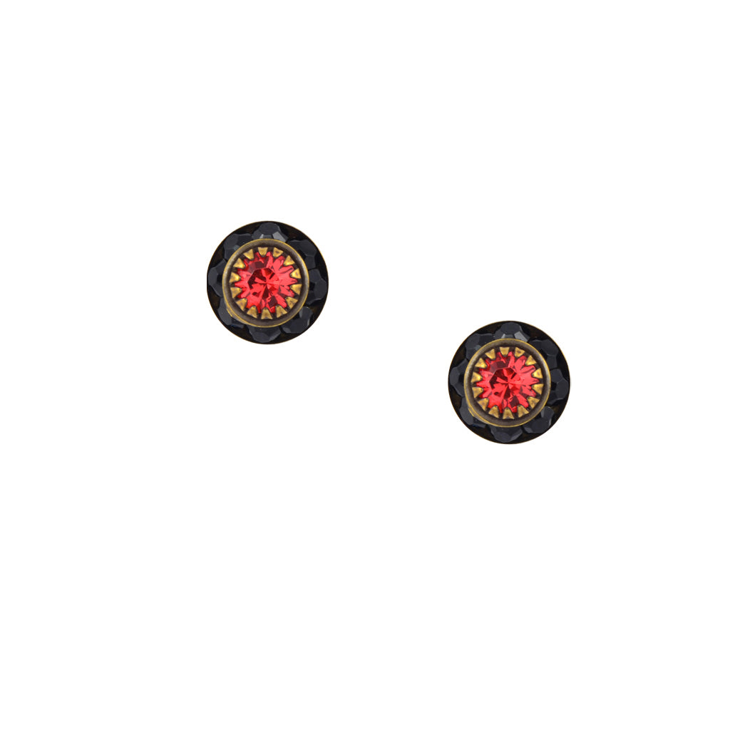 Caroline Heath Small Round Crystal Stud Earrings, Antique Brass Posts in Black and Pink