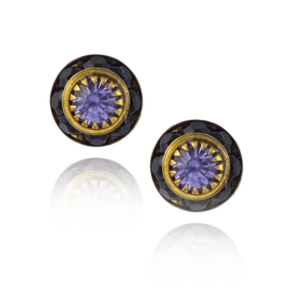 Caroline Heath Small Round Crystal Stud Earrings, Antique Brass Posts in Black/Purple
