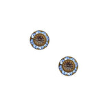 Caroline Heath Small Round Crystal Stud Earrings, Antique Brass Posts in Blue and Gray