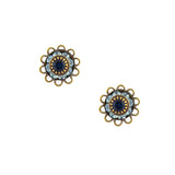 Caroline Heath Small Round Crystal Stud Earrings, Antique Brass Posts in Blue