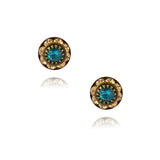 Caroline Heath Small Round Crystal Stud Earrings, Antique Brass Posts in Fawn/Blue