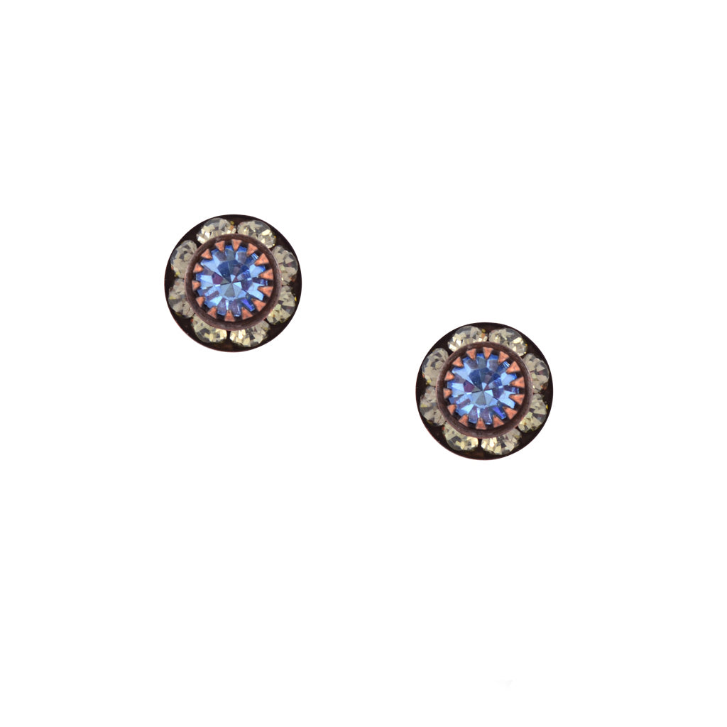 Caroline Heath Small Round Crystal Stud Earrings, Antique Brass Posts in Moonlight and Blue