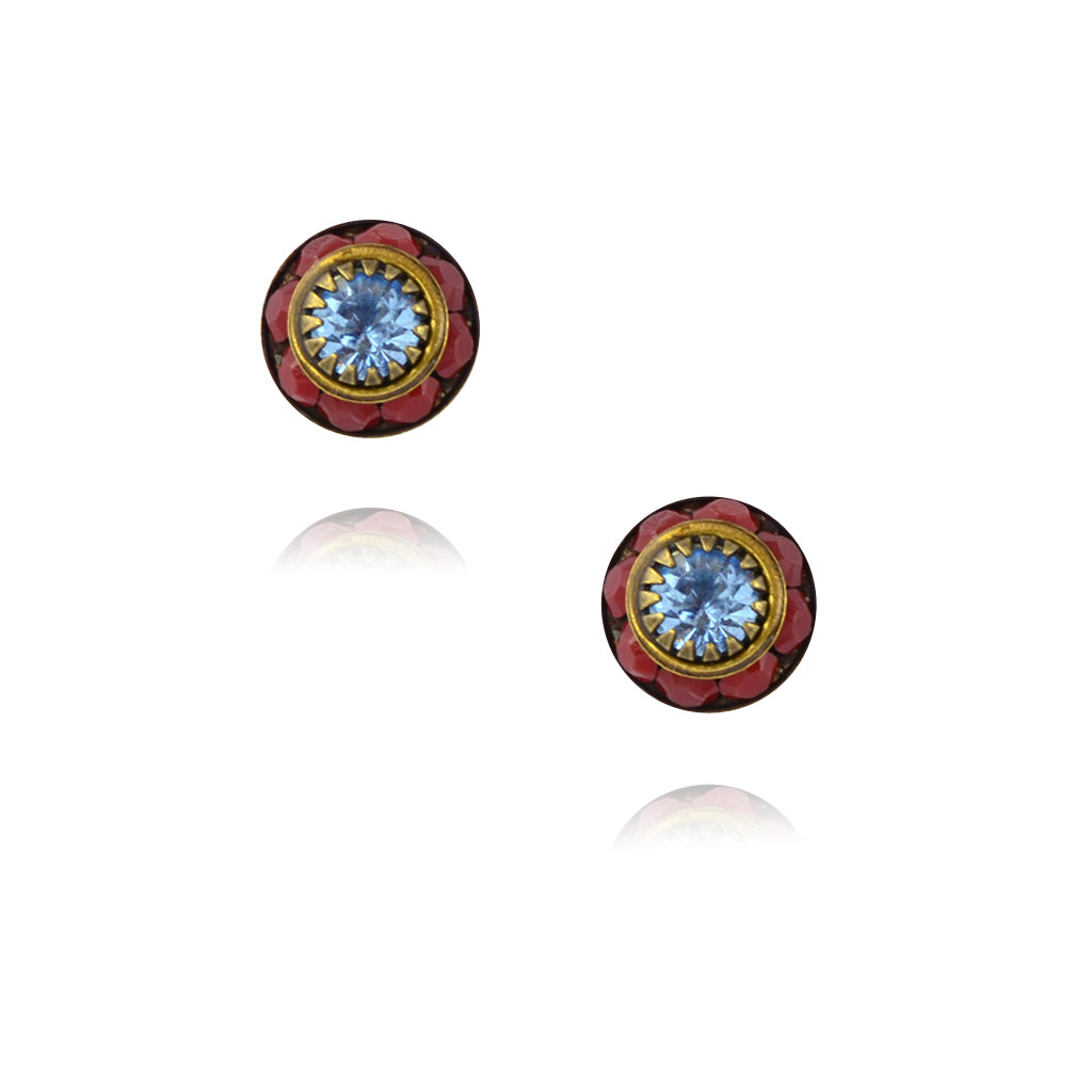 Caroline Heath Small Round Crystal Stud Earrings, Antique Brass Posts in Red/Blue