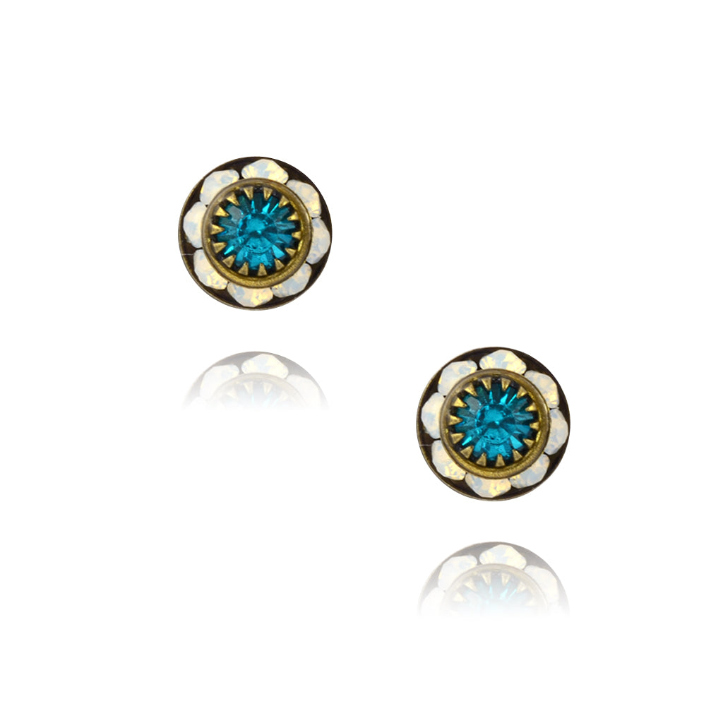 Caroline Heath Small Round Crystal Stud Earrings, Antique Brass Posts in White/Blue