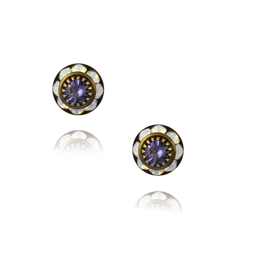 Caroline Heath Small Round Crystal Stud Earrings, Antique Brass Posts in White/Purple